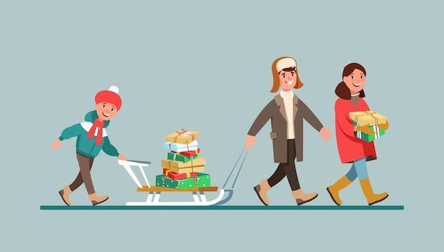 Winterkleidung der familie der vektorillustration mit geschenkbox und einkaufstaschen-karikaturstil Premium Vektoren