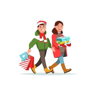 Winterkleidung des jungen paares mit geschenkbox und einkaufstasche cartoon-stil.
