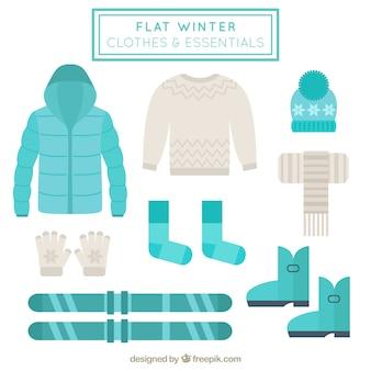 Winterkleidung sammlung und skizubehör