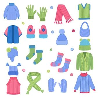 Winterkleidung. stoff stricken stilvolle garderobe schal wollmantel strickjacke tragen kleidung vektor-set. illustrationsstoffzubehör, weihnachtliche textilkleidung