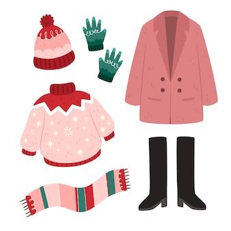 Winterkleidung und essentials in flachem design