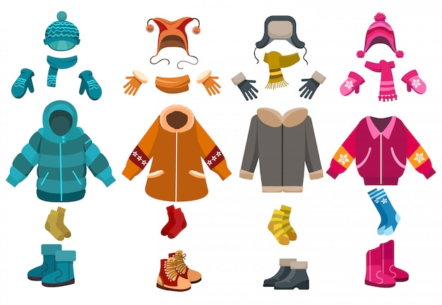 Winterkleidung und zubehörsatz des kalten wetters