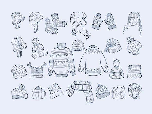Winterkleidung. weihnachtsmode hut fäustlinge socken pullover schal kollektion. socken kleidung, handschuhe und hut illustration