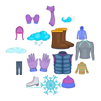 Winterkleidungsikonen eingestellt, karikaturart