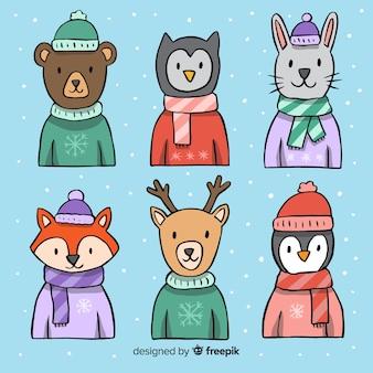 Winterkollektion von gekleideten tieren