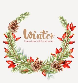 Winterkranz mit roten beeren und blumen