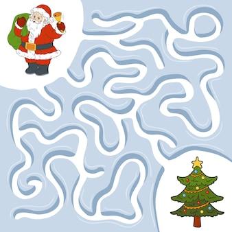 Winterlabyrinthspiel für kinder, weihnachtsmann und weihnachtsbaum