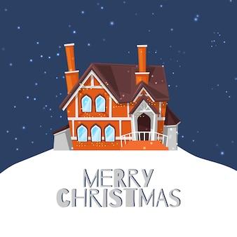 Winterlandhaus auf schneebedeckter landschaft und frohen weihnachten zitieren karikaturillustration.