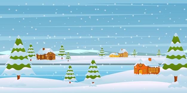 Winterlandschaft attraktiver hintergrundstil Premium Vektoren