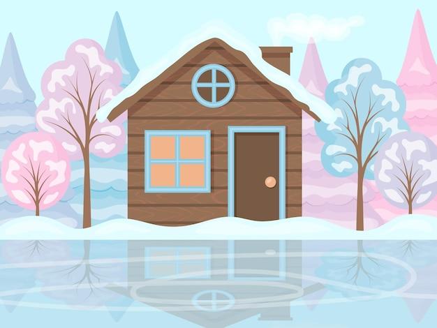 Winterlandschaft. ein haus und bäume im schnee, neben einer eisbahn. das ufer eines zugefrorenen sees. cartoon-stil, vektor-illustration.