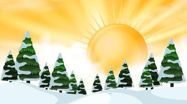 Winterlandschaft im freien bei sonnenaufgang