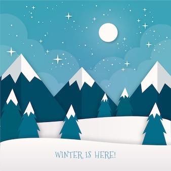 Winterlandschaft im papierstil