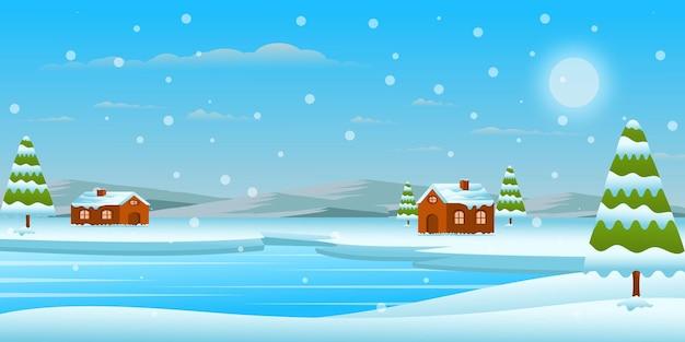Winterlandschaft in kreativer und ansprechender hintergrundgestaltung