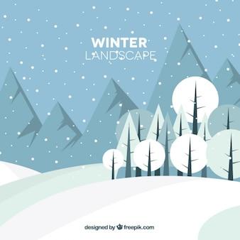 Winterlandschaft mit bergen und bäumen in flachen stil