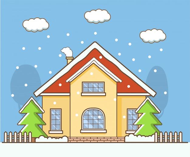 Winterlandschaft mit dem landhaus.