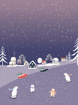 Winterlandschaft mit fallendem schnee, eisbär, der schlittschuhe spielt