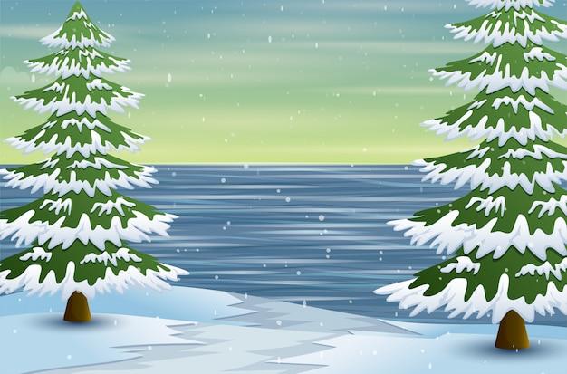 Winterlandschaft mit gefrorenen see- und tannenbäumen