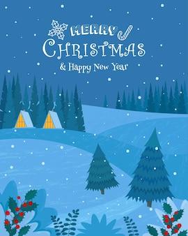 Winterlandschaft mit häusern im wald weihnachtsnacht vector illustration im flachen stil