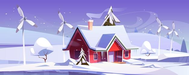 Winterlandschaft mit haus und windkraftanlagen. karikaturillustration von schneefall, eisbahn, windmühlen und modernem häuschen mit schnee auf dach. umweltfreundliche stromerzeugung, grünes energiekonzept