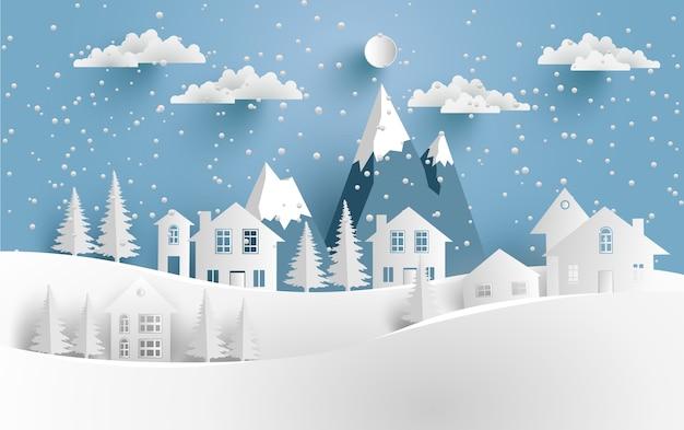 Winterlandschaft mit schnee und häuser auf dem hügel. designpapier kunst und kunsthandwerk