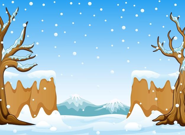 Winterlandschaft mit schneehügeln und berg