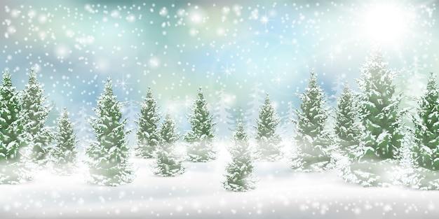 Winterlandschaft mit schneeverwehung und fallendem schnee. nadelwald.