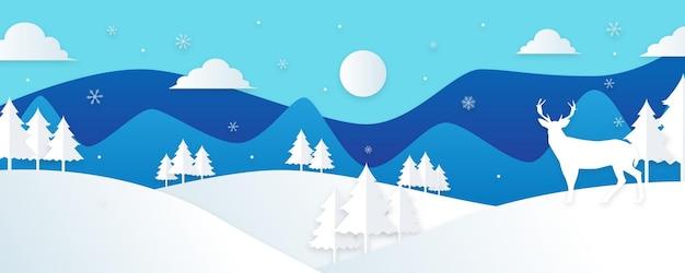 Winterlandschaft mit tannen und schnee. weihnachten hintergrund. für design-flyer, banner, poster, einladungen