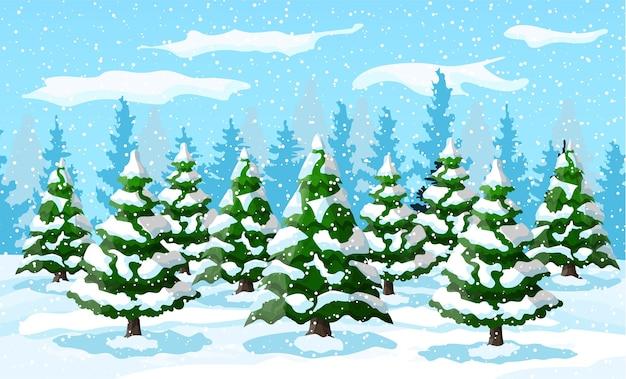 Winterlandschaft mit weißen kiefern auf schneehügel. weihnachtslandschaft mit tannenwald und schnee. frohes neues jahr feiern. neujahrs-weihnachtsfeiertag.