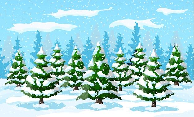 Winterlandschaft mit weißen kiefern auf schneehügel