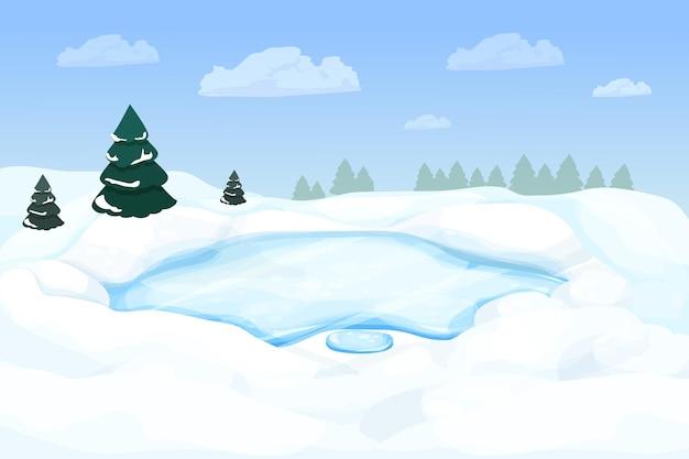 Winterlandschaft mit zugefrorenem see im wald mit schnee und kiefern im cartoon-stil