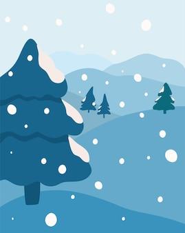 Winterlandschaft, schneefall im wald. tannen, berge und schnee. hintergrund für banner, grußkarten, poster und werbung, frohes neues jahr und frohe weihnachten vector illustration