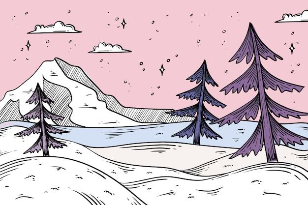Winterlandschaftskonzept in der hand gezeichnet