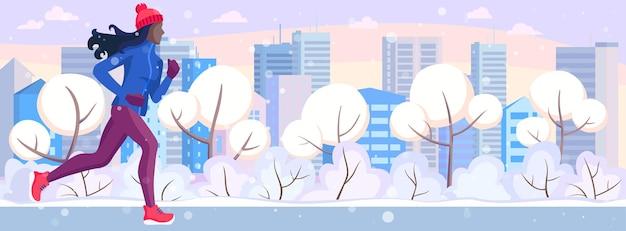 Winterlauf. vektorillustration des mädchens läuft auf einem winter im stadtpark.