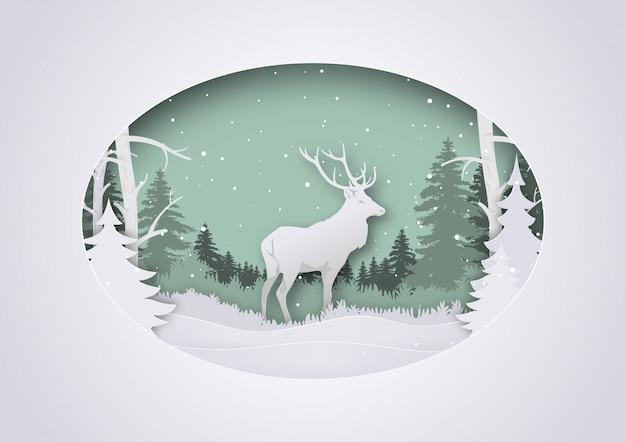 Winterlicher papier-art xmas greeting mit rotwild im wald
