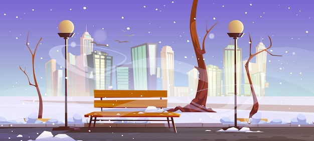 Winterlicher stadtpark mit holzbank kahl