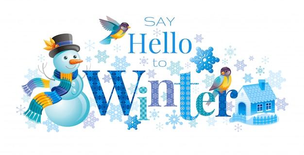 Winterlogo mit karikaturschneemann, vögeln und nettem haus. grußkarte. abstrakte vorlage.
