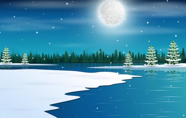 Wintermärchenland mit sternenklarem nächtlichem himmel