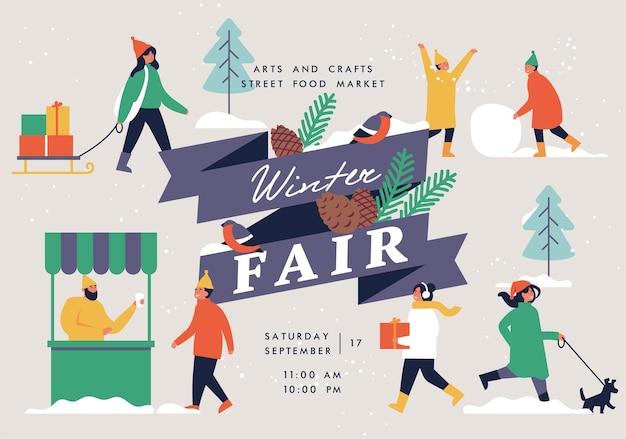 Wintermesse poster flyer oder banner oder banner vorlage