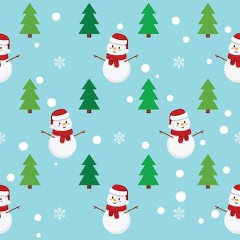 Wintermuster mit schneeflocken, schneemann und weihnachtsbäumen