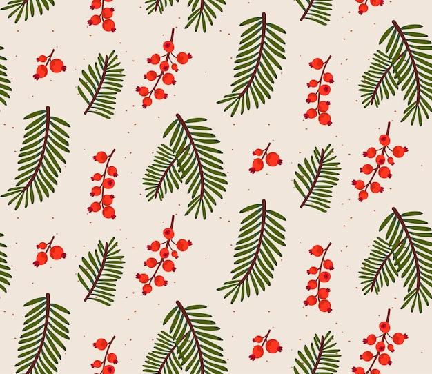 Wintermuster, weihnachtsbaumzweige und rote beeren. natur minimales druckdesign für geschenkpapier und weihnachtsdekorationen.