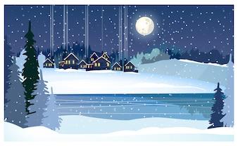 Winternachtlandschaft mit gefrorenem Fluss, Tannen und Hütten