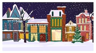 Winternachtstadtbild mit Häusern und verziertem Tannenbaum