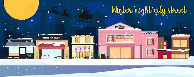 Winternachtstadtstraße und weihnachtsmann sillouette