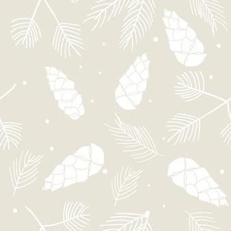 Winternahtloses muster mit mit weißem tannenbaumzweig fichte tannenzapfenschnee weihnachten backgroun