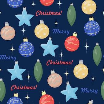 Winternahtloses muster von bunten weihnachtsdekorationen