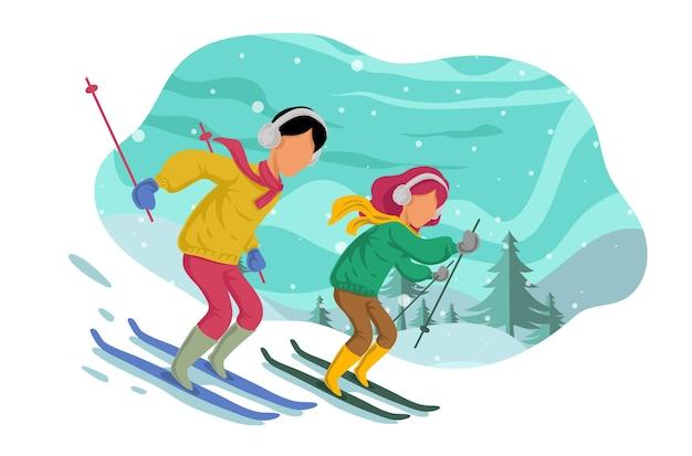 Winterpaar sking isoliert auf weiß