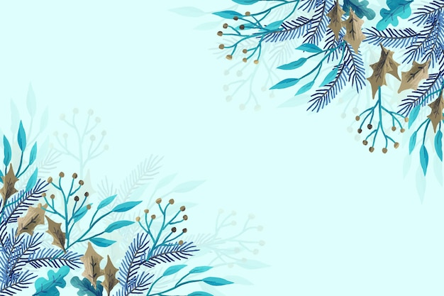 Winterpflanzen mit aquarellen