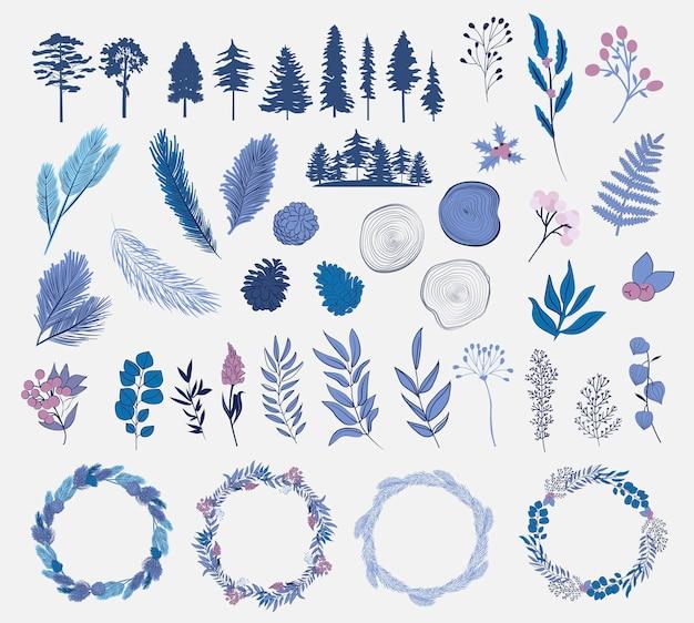 Winterpflanzensammlung baum winterblumenkranzzweigzweigkegelillustration