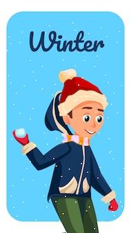 Wintersaison banner cartoon boy werfen schneeball