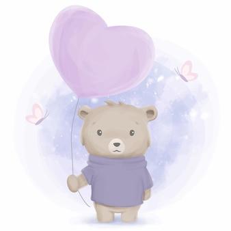 Wintersaison brown bear boy und ballon